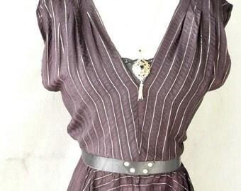 Womans' Grecian Style DRapped Tp in Black Silk Gold Lurex stripe