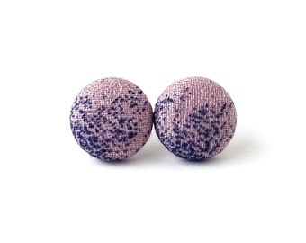 Pastel pink earrings - tiny stud earrings - small fabric earrings - cute post earrings