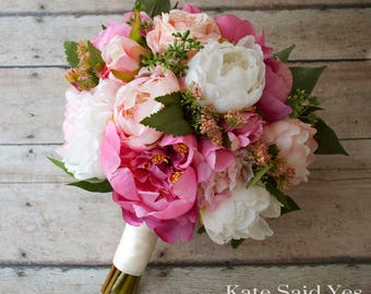 Pink Peony Bouquet Silk Wedding Rustic Bridal