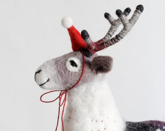 Christmas Reindeer - Reinhold. Soft toy for children Felt Deer Puppet Marionette Woodland Animals  Stuffed plush Toys decoration grey purple