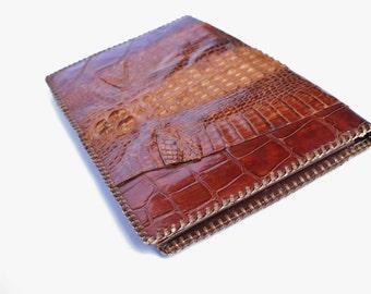 Vintage Retro 40s Brown Leather Alligator Clutch Purse Handbag Side Bag Taxidermy
