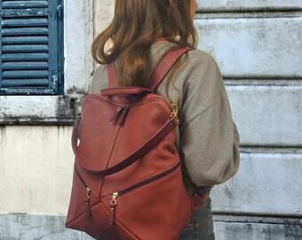 Handmade leather backpack,shoulder bag in copper color ,named IRIA ,made to order