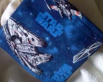 "Reusable Snack Bag, Reuse Sandwich Bag, Grab Bag, Eco Friendly Bag, Party Favor, Change Purse, Teacher Gift, ""Star Wars Space Ships"""