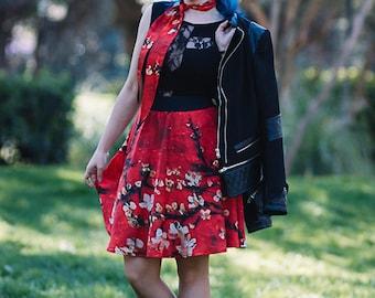 Skater Skirt short flare printed flowers Almond Sakura mini skirt