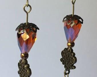 Amber and oxidized bronze dangle earrings