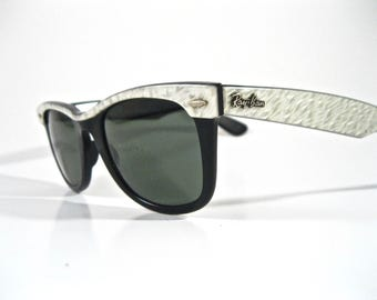 Ray-Ban Wayfarer pearl white Street-Neat sunglass frames. Vintage Raybans sunglasses B&L U.S.A. Bausch and Lomb 1980s