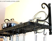 """Hand Forged Iron Steel Metal Blacksmith """"Riveting"""" Pot Rack with Hooks by VinTin"""