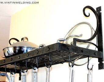 "Hand Forged Iron Steel Metal Blacksmith ""Riveting"" Pot Rack with Hooks by VinTin"