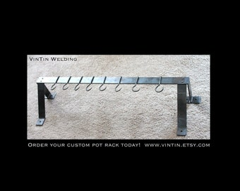 """Hand Forged Iron Steel Metal Blacksmith """"No Fuss"""" Pot Rack with Hooks by VinTin"""