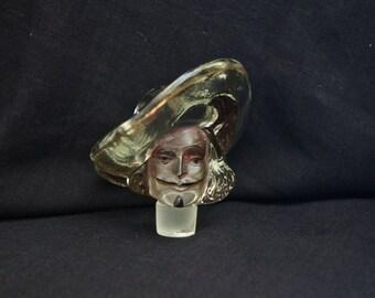 Vintage Glass Bottle Stopper, Figural Glass Bottle Stopper Cyrano de Bergerac, Musketeer Figural Glass Bottle Top