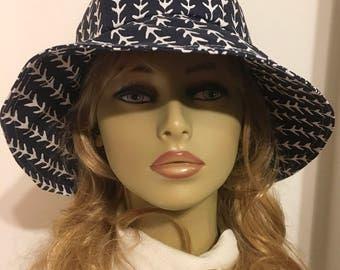 Womens Sun Hat, Garden Hat, Beach Hat, in navy and white print