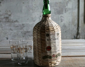 Vintage Wicker Wrapped Bacardi Rum Bottle