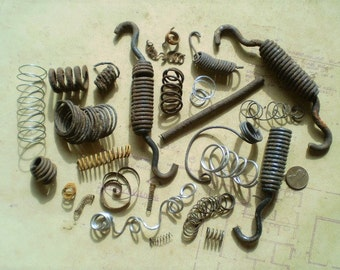 26 Salvaged Metal Springs and Coils - Found Objects for Assemblage, Sculpture or Altered Art - Industrial Salvage