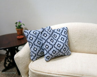 Blue Moroccan Tile pillows - set of two - dollhouse miniature