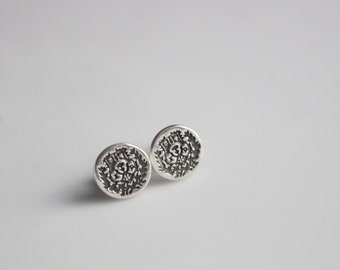 Chi Omega Crest Stud Earrings in Sterling Silver