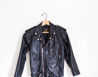 black leather 80's biker zip up jacket size X Small - KC Collections
