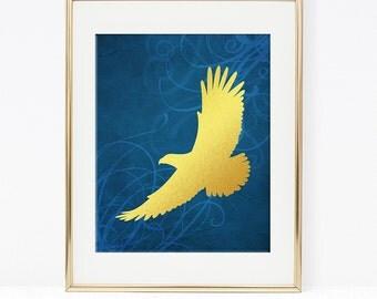 Blue and Gold Hawk Art Print, Faux Gold Foil Wall Art, Bird, Nursery Decor, DIY Printable, INSTANT DOWNLOAD