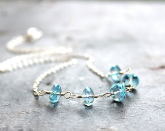 Blue Topaz Necklace Sterling Silver Swiss Sky Blue Faceted Beaded Gemstone Necklace, November Birthstone