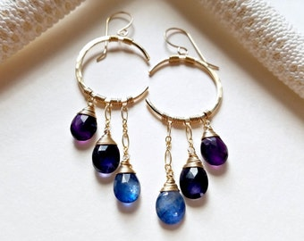 Gemstone Crescent Moon Earrings, Peacock Chandelier, Gemstone Moon Earrings, Crescent Moon Chandelier