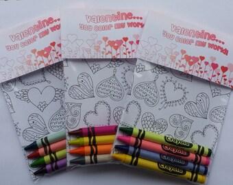 10 Kids Valentine's Day Card Crayon Packs