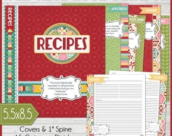 RECIPE BINDER Kit Printables (RED), Recipe Book, Recipe Printables, Recipe Kit, Half-Size, 5.5x8.5 - Printable Instant Download