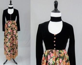 60s Maxi Dress - Black Velvet Bodice - Choker Neck - Long Floral Butterfly Skirt - Vintage 1960s - XS