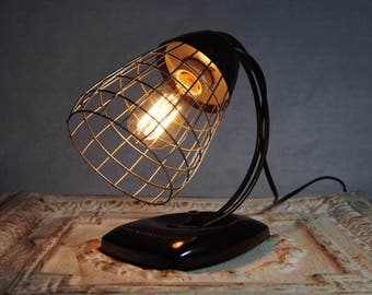 Vintage GE Industrial desk or wall sconce wire cage lamp