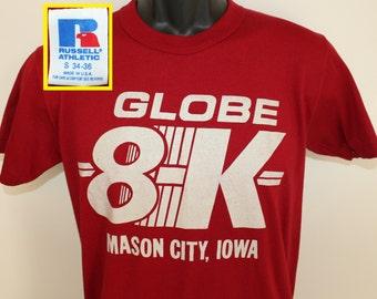Globe 8K Mason City Iowa vintage t-shirt XS/Small maroon burgundy 80s 90s soft thin Russell Athletic