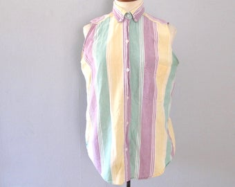 pastel sleeveless shirt - 90s vintage vertical stripe lavender purple yellow seafoam green white oversized slouchy blouse button up tank top