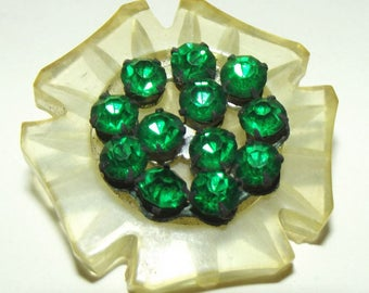 Vintage Plastic Celluloid Button Rhinestone Center