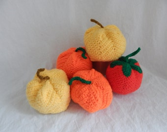Crocheted Tomatoes, Apples, Pumpkins