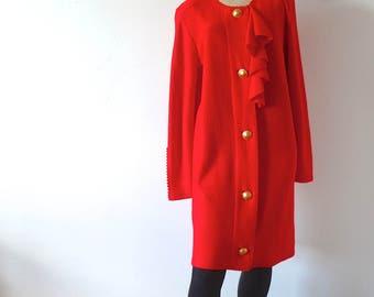 1980s Red Knit Dress - Steve Fabrikant shift - designer vintage