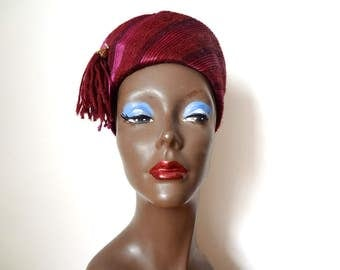 1950s Toque Hat - vintage egyptian style cloche - wool and silk fez with hatpin