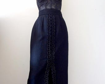 1960s Maxi Skirt / black wool pencil skirt / vintage cocktail party attire from Saks