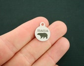 Mama Bear Stainless Steel Charms - Smaller Size - Exclusive Line - Quantity Options - BFS1689
