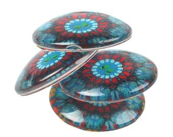 12 Flower Resin Cabochon Blue with Streaks of Red and Yellow Fits 12mm Tray Z280