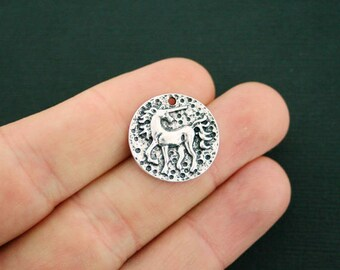 4 Unicorn Charms Antique Silver Tone - SC7105 NEW1