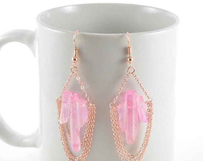 Pink Quartz Chain Chandelier Earrings