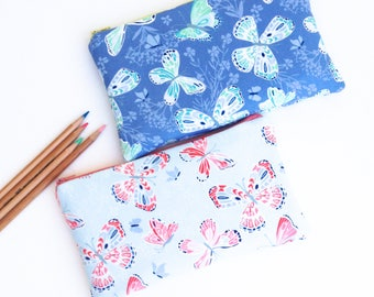 Butterfly Pencil Zipper Pouch, Personalized Coworker Gift, Blue Zipper Fabric Pouch, Gift Ideas for Coworker, Pencil Pouch, Organizer Her