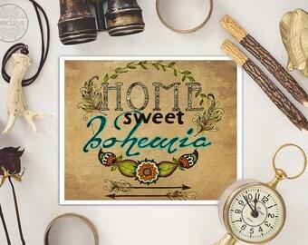 home sweet bohemia, mixed media art, typographic print, bohemian home decor, bohemian art, boho chic decor, mixed media illustration