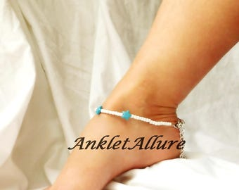 Starfish Ankle Bracelet Beach Anklet Cruise Jewelry Body Jewelry Turquoise Foot Jewelry
