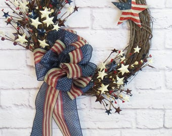 Patriotic Wreath, Americana Wreath, 4th of July Wreath, Memorial Day Wreath, Veterans Day Wreath, Patriotic Grapevine Wreath