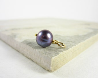 S - Tahitian Pearl Pendant - Black Pearl Charm - Genuine Pearl Jewelry - June Birthstone - 14k Gold Filled Wire Wrapped Jewelry Handmade