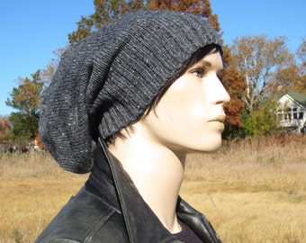 Slouchy Hat Wool Winter Beanie Charcoal Gray Tweed Slouch Tams Men's Warm Grunge Clothing A1842