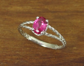 White Gold Ruby Engagement Ring, Twisted Rope Ruby Engagement Ring, Oval Ruby Twisted Rope Engagement Ring, Ruby Ring, July Birthstone Ring