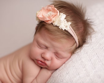 Newborn Photo Prop, Vintage Inspired Tieback, Newborn Tieback, Baby Tie Back, Spring Tieback, Pink Flower, Lace, Rose, Newborn Headband