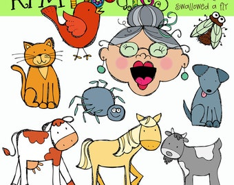 KPM Old lady who swallowed a Fly Digital Clipart