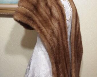 sz. 12-14 AUTUMN HAZE Mink Fur Stole Cape Wrap Coat Jacket