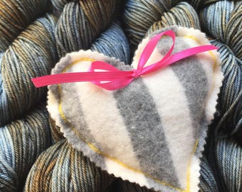 Lavender Heart Sachet - grey/white/yellow/pink cashmere - great for yarn/lingerie drawers
