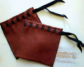 Drawstring Leather Coin Purse / Pouch / Dice Bag, Burgundy & Black - Hand Sewn - Large Size